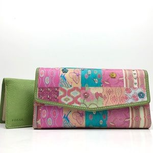 Fossil Leather Floral Studded Checkbook Wallet
